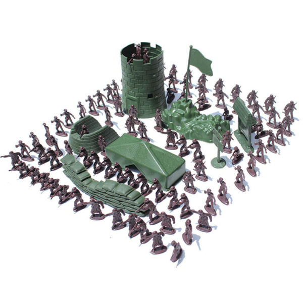 100Pcs Military Plastic Toy Soldiers Army Men Figures Accessories For Boy Gifts