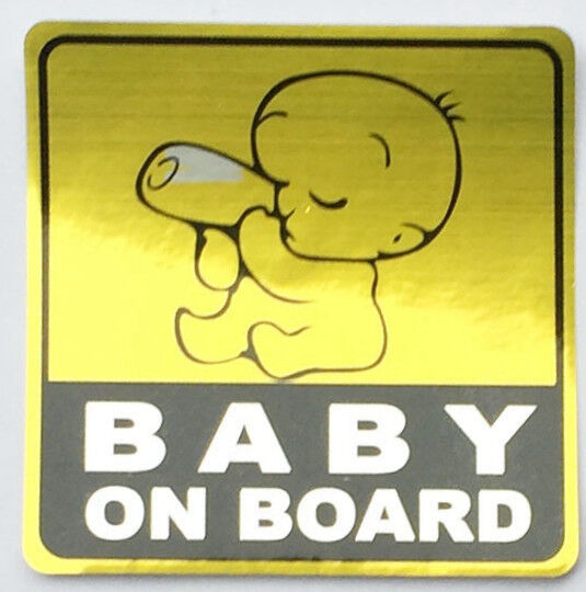 BABY ON BOARD Yellow Reflective Safety Bumper Sticker / Decal