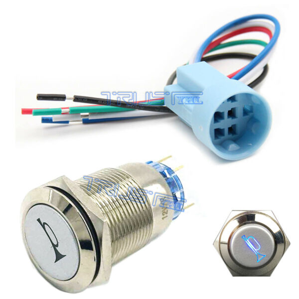 19mm Socket Plug+12V Momentary Blue Car Horn Push Button Toggle Light Switch