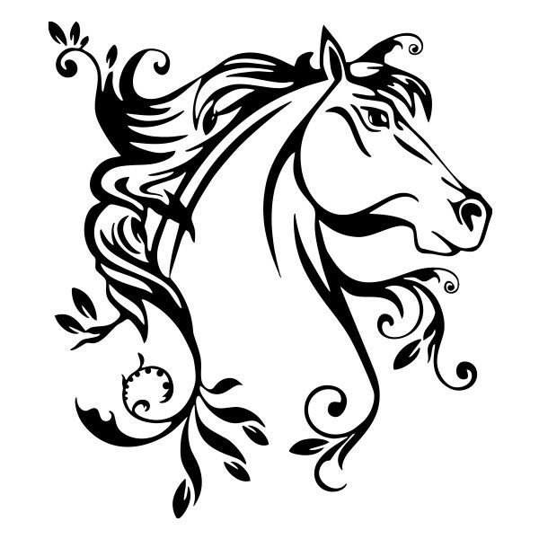 Horse leaf vinyl decal sticker for Car/Truck Window Computer stallion laptop mac