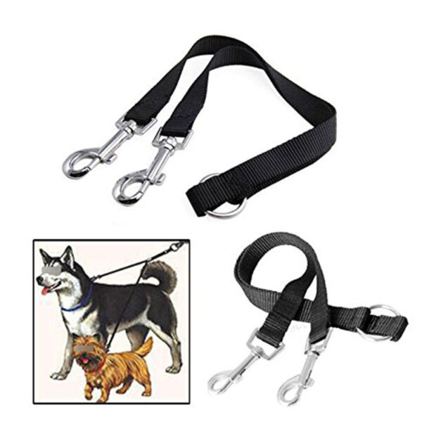 Nylon Double Lead Coupler Twin Dog Two Pet Dog Walking Duplex Leash Splitter S6 $3.80