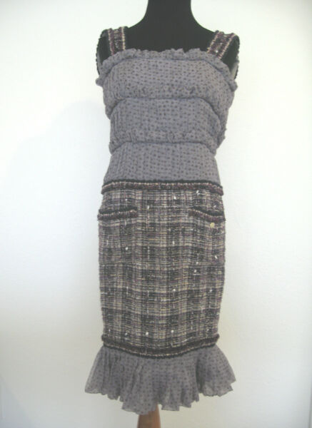 CHANEL Dress Classic Tweed Sillk Ruffles Stars GORGEOUS!! Size 34