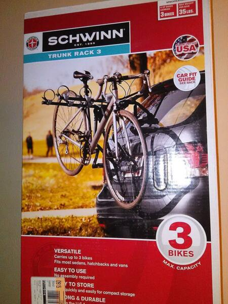 Schwinn 3 Bike Trunk Mount Rack Brand New In Box $99.99