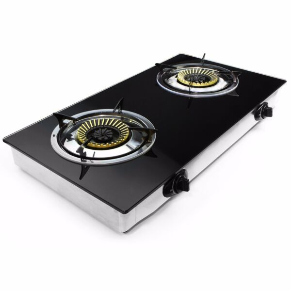 Propane Gas Range Stove 2 Burner rv camping Tempere Glass Cook top Auto Ignition