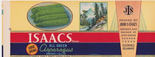 VINTAGE DELAWARE CANNING LABEL 1930S ASPARAGUS ISSACS RARE RED BAND