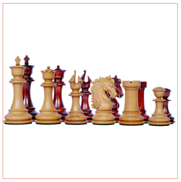 Heritage Design 4.4 inch Chess Pieces in African Padouk Wood and Box Wood