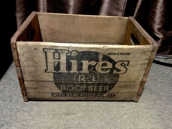 VINTAGE ANTIQUE HIRES ROOT BEER WOOD SHIPPING CRATE