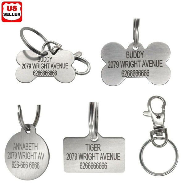 Stainless Steel Pet ID Tags Dog Tags Personalized Front and Back Engraving $8.98
