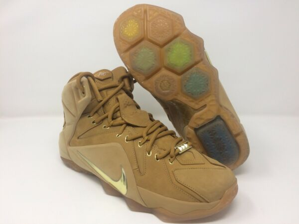 Nike Lebron XII 12 EXT QS Wheat Metallic Gold Gum OG James SZ 9.5 (744287-700)