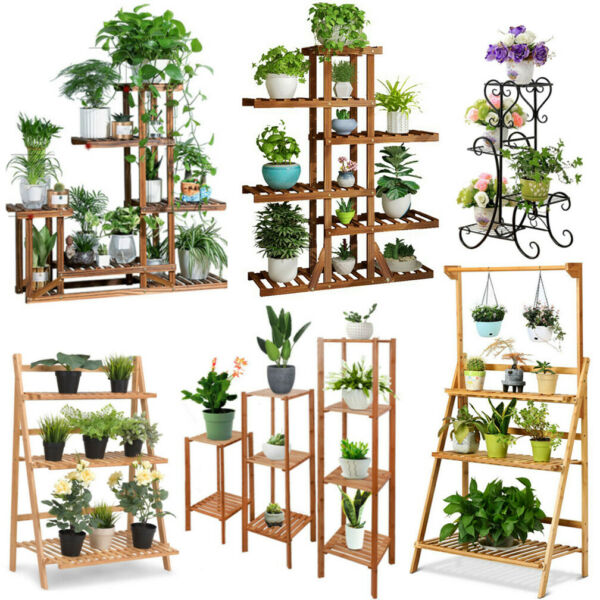 Wood BambooMetal Shelf Flower Pot Plant Stand Rack Garden Indoor Outdoor Patio