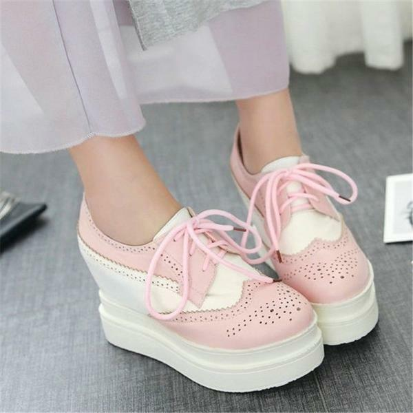Women's Lace Up Muffins Platform Brogue Oxfords Wedge Ankle Sneakers Punk Shoes