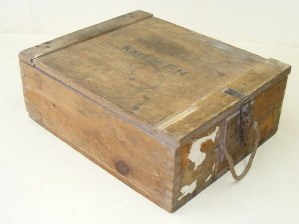 OLD AMMUNITION CRATE WOODEN CHEST materialkiste WWII Armed Forces