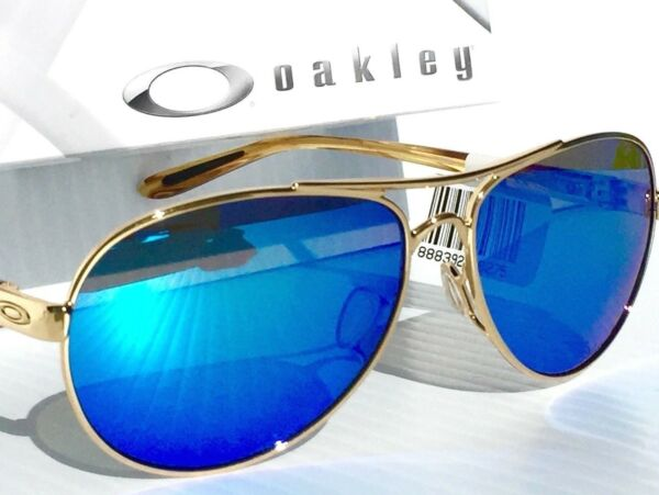 NEW Oakley FEEDBACK Gold AVIATOR POLARIZED Galaxy Sapphire Women#x27;s Sunglass 4079 $178.88