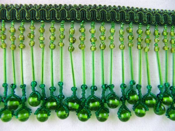 3 1 2quot; All Glass Green Beaded Fringe Trim Beads Bugle Lampshades BTY $17.95