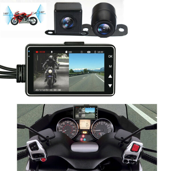 3quot; LCD 140° Waterproof Dual Action Camera Video Recorder for Motorcycle Car Bike $49.49