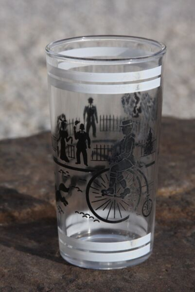 Old Days Vintage Peanut Butter Glass Victorian Dogs Kid Bicycle Park $5.99