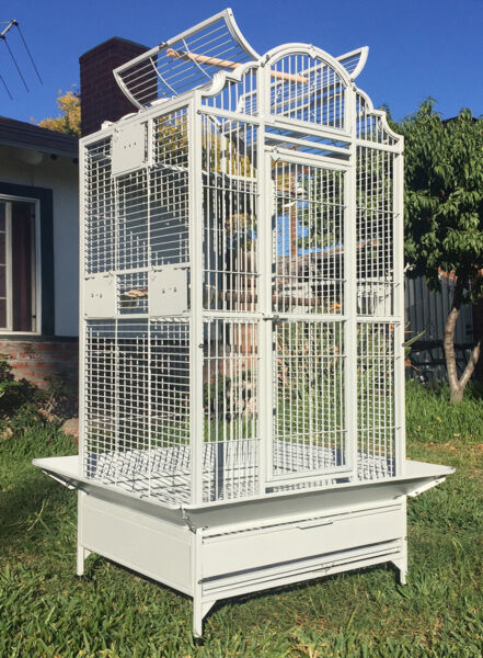 63quot; Large Elegant Wrought Iron Dome Play Top Parrot Macaw Cockatoo Bird Cage