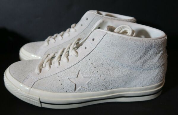 White Converse One Star Mid Vintage Suede Shoe 157702C EGRET Mens 10