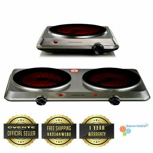 Ovente Countertop Ceramic Glass Single or Double Plate Infrared Cook Top Stove