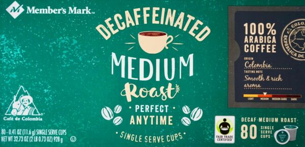 Member's Mark Decaf Colombia Medium Roast Arabica Coffee Keurig 80 K-Cup Pods