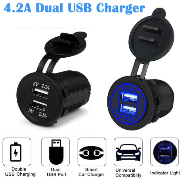 12V Car Lighter Socket Dual 2.1A USB Port Charger Power Outlet LED $8.75