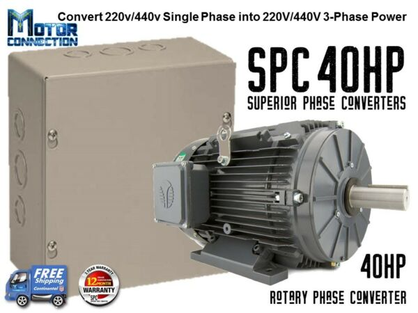 Rotary Phase Converter - 40 HP - Create 3 Phase Power from Single Phase Supply!