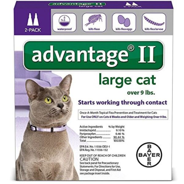 Bayer Advantage II For Large Cats over 9 lbs 2 Pk (comes wbox) US EPA APPROVE!!