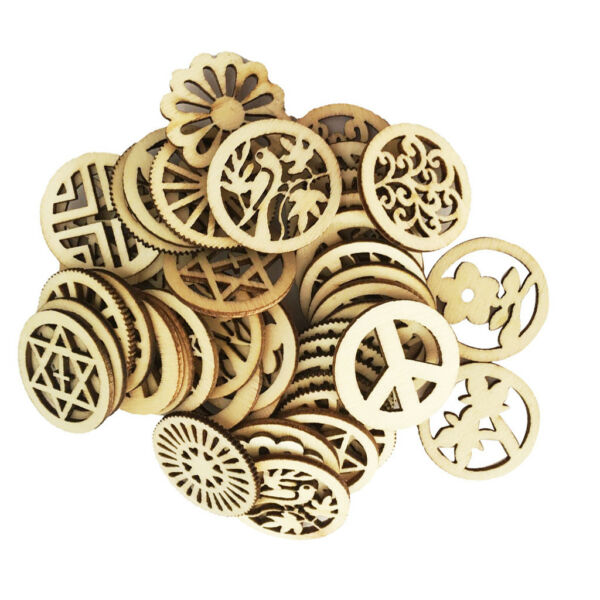100pcs Mixed Unfinished Blank Wood Wooden Round Embellishments for DIY Craft