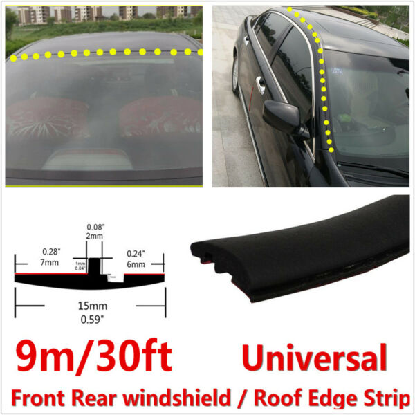 9M T-Type Car Front Rear Windshield Sunroof Sealing Seals Edge Strip Trim Rubber
