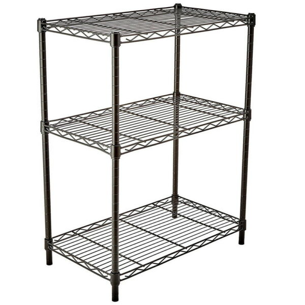 3Tier Wire Shelving Rack Shelf Adjustable Unit Commercial Garage Kitchen Storage