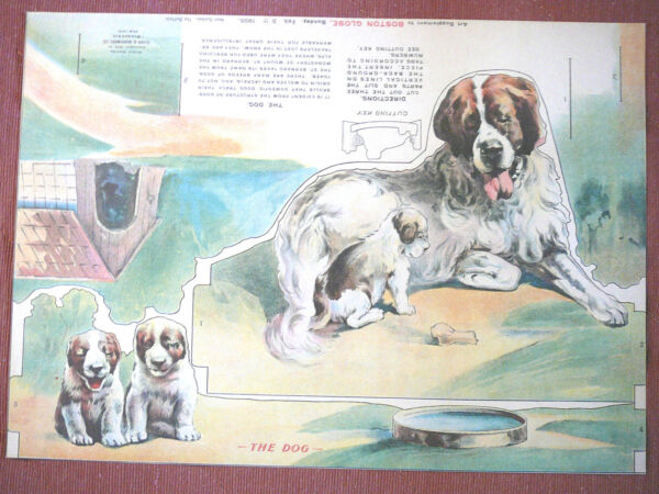 1905 Boston Globe supplement Dog to cut out and stand up $54.99