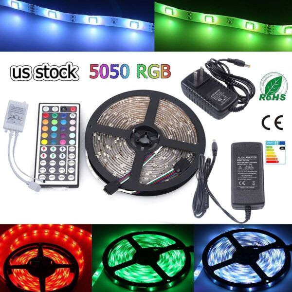 Multi-color 1M-30M LED Strip light RGB 5050 SMD 44 Key Remote US Power Full Kit