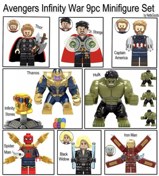 Avengers Infinity War Minifigures Building Blocks 9pc set compatible with Lego