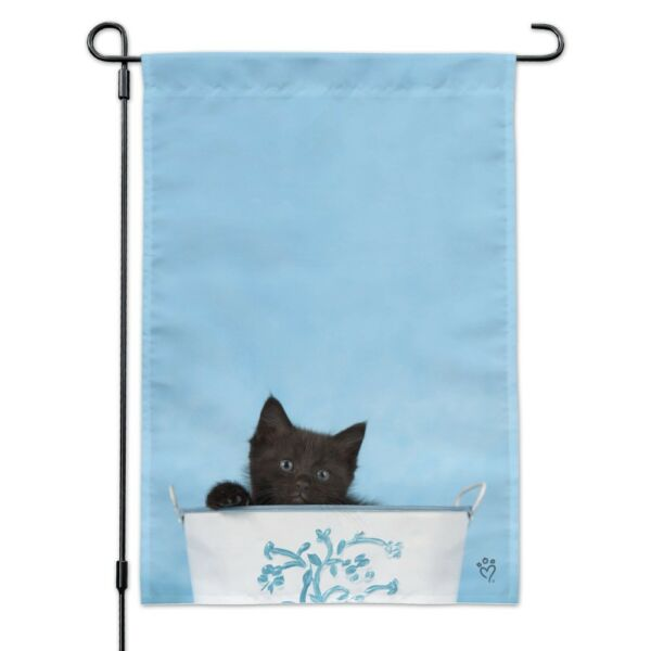 Black Kitten Cat in Bucket Tin Pail Garden Yard Flag