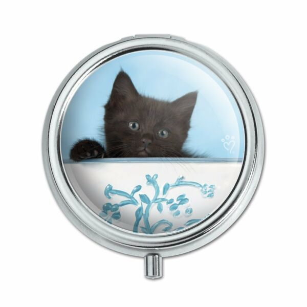 Black Kitten Cat in Bucket Tin Pail Pill Case Trinket Gift Box