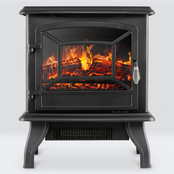 17quot; Freestanding Electric Fireplace Heater Stove 1400W Realistic Flame Effect