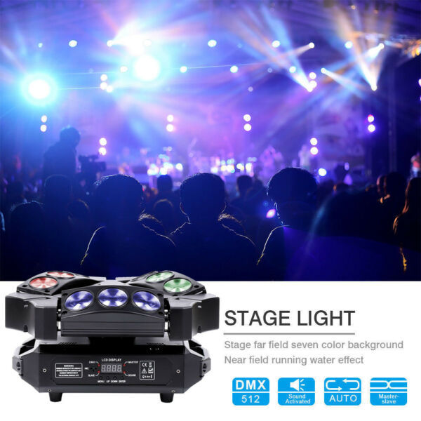 90W 9 LED RGB Spider Moving Head Stage Lighting Beam LED Disco DJ Party Lights