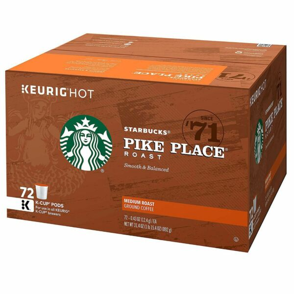 Starbucks Coffee K-Cups Pike Place 72 ct. Medium Roast Rich Blend Sealed