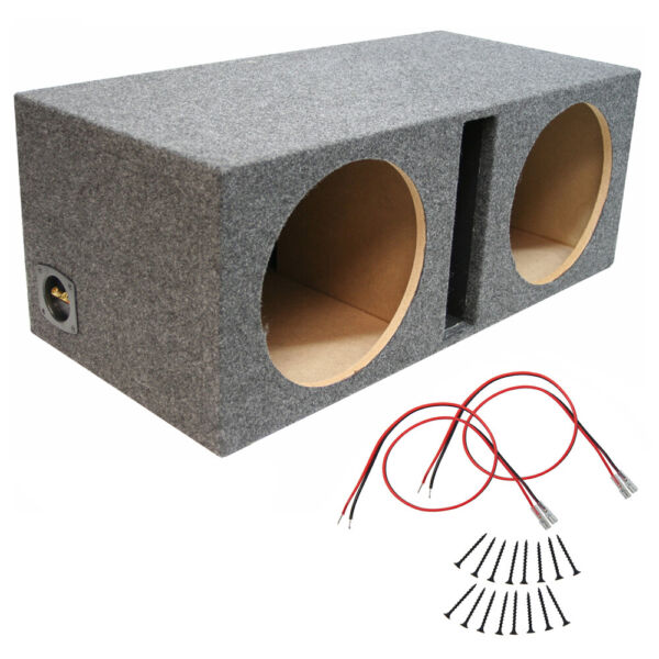 Car Audio Dual 12 Inch Vented Subwoofer Enclosure Stereo Speaker Sub Box New