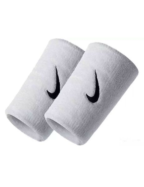 Nike Swoosh Doublewide Wristbands 2 Pack New White 845840058077