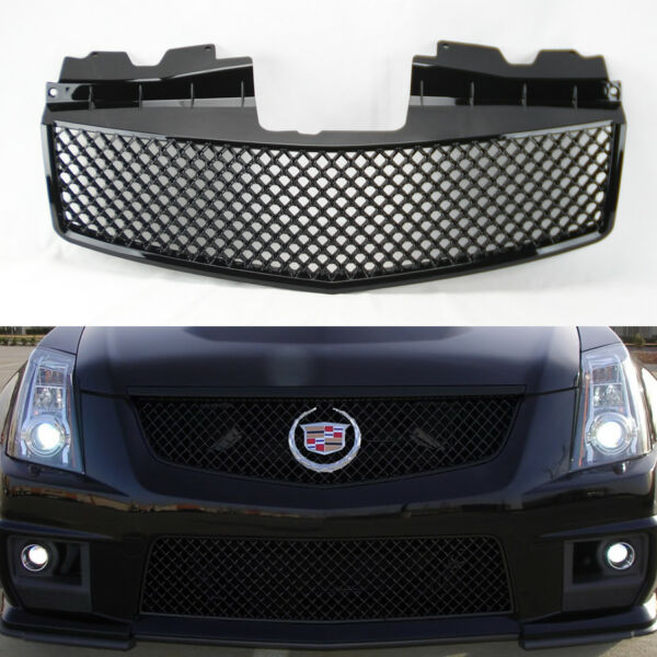 Front Honeycomb Mesh Gloss Black Front Hood Grill for Cadillac CTS 2003-2007