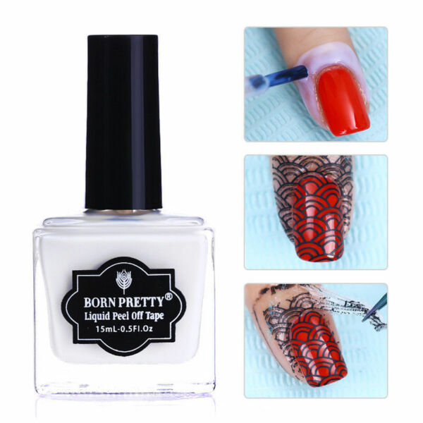 15ml BORN PRETTY Nail Peel Off Liquid Tape Cuticle Guard Nail Art Care Latex Gel