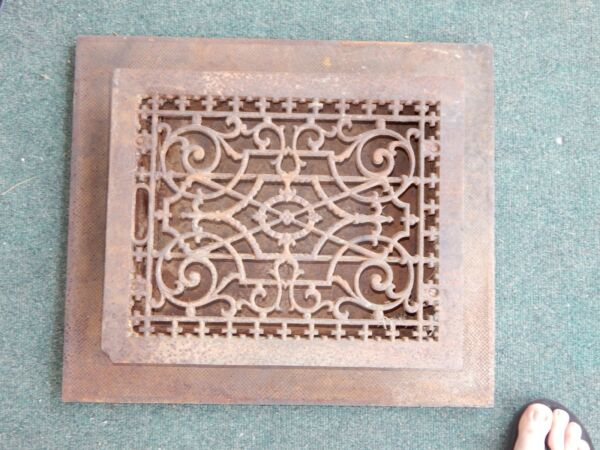 Large Antique Cast Iron Floor Heat Grate Vent Register 12x15 with Collar