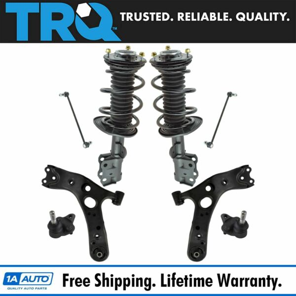 TRQ 8 pc Suspension Kit Control Arms Ball Joints Sway Bar Links Complete Struts