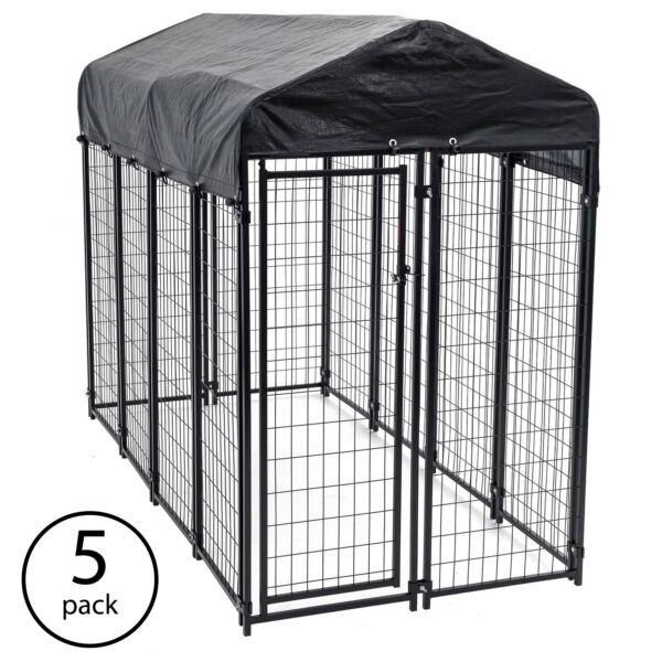 Lucky Dog Uptown Large Outdoor Covered Kennel Heavy Duty Dog Fence Pen (5 Pack)