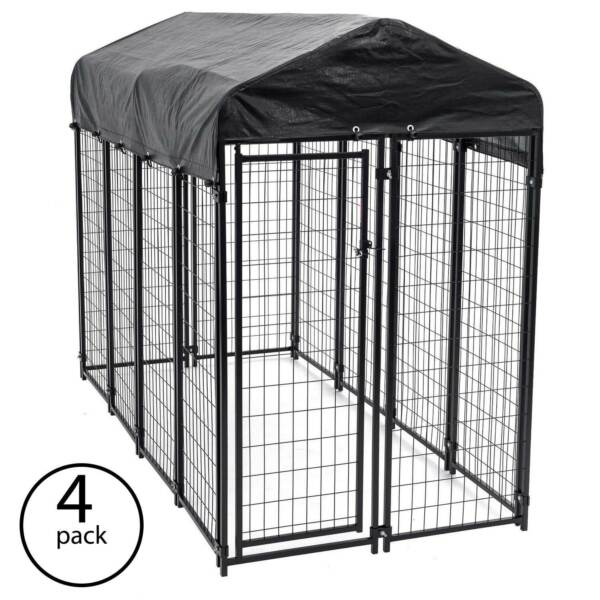 Lucky Dog Uptown Large Outdoor Covered Kennel Heavy Duty Dog Fence Pen (4 Pack)