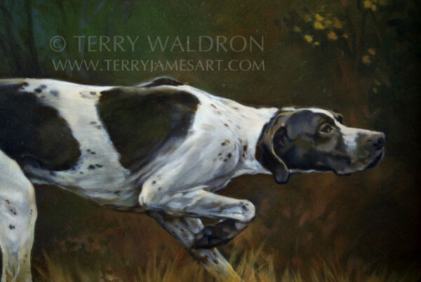 Original Classical Style Dog Oil Painting THE POINTER by Terry Waldron Signed