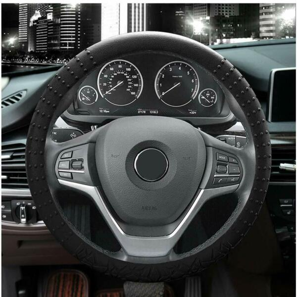 """Universal Car Silicone Steering Wheel Cover Black Protector 13"""" 14"""" 15"""" in"""