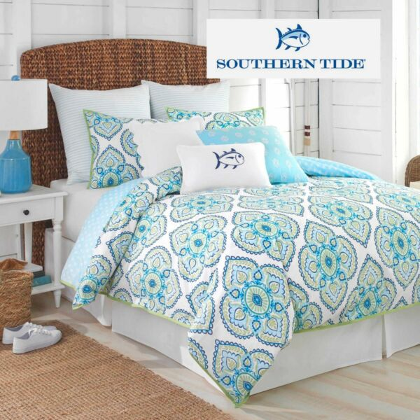 Southern Tide® Summerville Comforter Set reversible 100% Cotton fabric in Blue