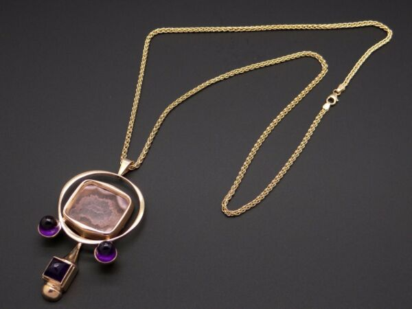 14k Yellow Gold Bullet Amethyst Agate Pendant Necklace Custom Hand Made Artistic